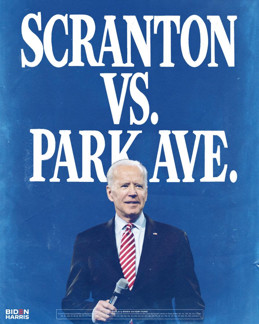 President Joe Biden in front of Scranton vs Park Ave. graphic